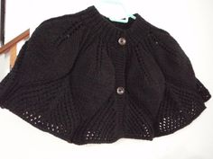 Knitted in Black Capelet poncho shrug for women by Namaoy on Etsy, $55.00