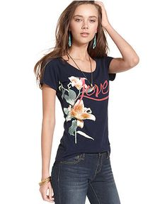 Lucky Brand Jeans Top, Short-Sleeve Scoop-Neck Printed Tee - Shop All Impulse - Women - Macy's