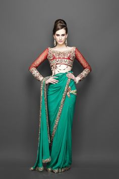 Designer Green saree with red embroidered blouse