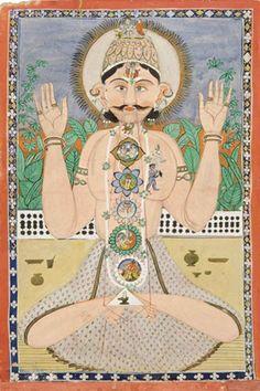 The Subtle Body And The Chakras Punjab Hills, North India, Circa 1850 Chakra Meditation, Kundalini Yoga, Ashtanga Yoga, Art Chakra, Chakra Painting, Om Namah Shivaya, Yoga History, Les Chakras, Body Chakras