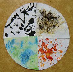 Živly žijí - kombinované techniky (slash painting – OHEŇ, práce s přírodními materiály – ZEMĚ, rozfoukávání tuše brčkem – VZDUCH, zapouštění barev do klovatiny – VODA)