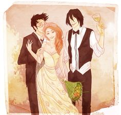Sirius Black with the Potters' at their wedding (Art by Viria)