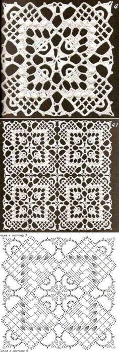 Los motivos cuadrados por el gancho - samobranochka a las laboreras, las maestras