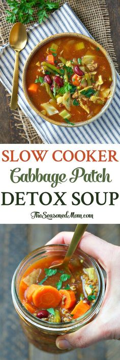 "Get your diet back on track with this Slow Cooker ""Cabbage Patch"" Detox Soup! You only need 10 minutes to toss the ingredients into a Crock Pot; you'll come home to a healthy dinner or easy lunch that's high in protein, full of filling fiber, and loaded w Crock Pot Recipes, Slow Cooker Recipes, Cooking Recipes, Crock Pots, Cabbage Patch, Cabbage Diet, Crockpot Cabbage Soup, Detox Soup Cabbage, Soup With Cabbage"