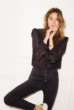 madewell high-rise skinny jeans worn with the eyelet mockneck top.