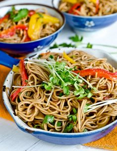 Here's a gluten-free and vegetarian dinner that tastes even better as leftovers for lunch the next day. Drizzle soba noodles and fresh vegetables with a sauce of hoisin, soy sauce, mirin, and rice vinegar. | recipe by Kristen at The Endless Meal