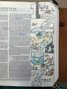 Bible art journaling in Genesis. Love the idea of studying the Bible this way! If you'd rather not do this in your Bible you could use a separate journal.