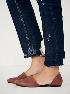Solid Rajah Flat Style: 30571327 Matte leather pointy toe textured flats with cool exposed sides.