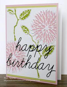 Memory Box Chrysanthemum Happy Birthday card...