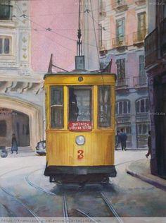 Granada 1962. Tranvía 3 en San Antón
