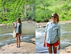 Lake outfit @Donna Maywald Navy  Memorial day outfit, Old navy style, chambray shirt, summer layers