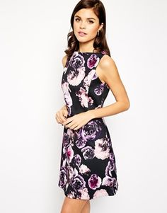 ASOS A-line Skater Dress in Bonded Floral Print Simple Dresses dca313e44