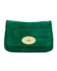 Emerald Suede ( Mulberry Bayswater Clutch in Emerald Suede Croc Print)