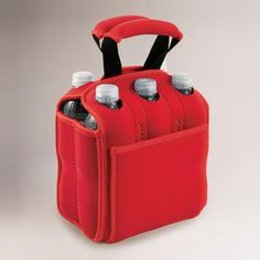 One of my favorite discoveries at WorldMarket.com: Insulated Six-Pack Holder, Red