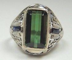 Antique Art Deco Vintage Green Tourmaline Belais 18K White Gold Engagement/Right Hand Ring Size 4.75 UK-J | RE: 902 by AntiqueJewelryCo on Etsy