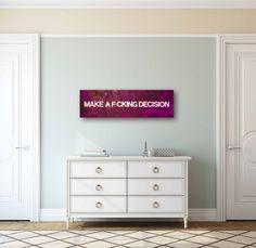 """Make a F*cking Decision"" by Deborah Liljegren. Acrylic and Glass on Canvas. 36"" x 12""  #purple #petpeeve #petpeeves #foyer #seafoam #green #glass #art #arte #painting #peintre #modern #contemporaryart #contemporary"