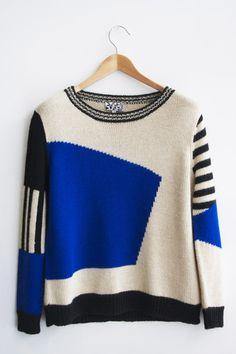 DUSEN DUSEN / Landscape sweater - blue
