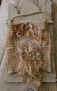 tattered lace pouch