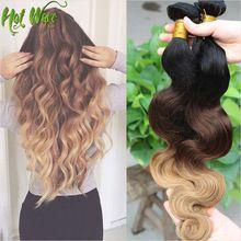 2015 vendita calda brasiliani del virgin dei capelli umani tessitura grado 6a 1b/4/27 brasiliano ombre dei capelli dell'onda boby extentions 3 pz/lotto OTBW203(China (Mainland))