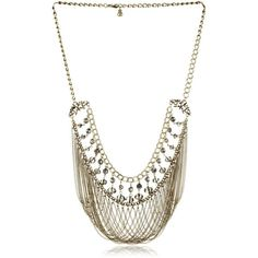 """Leslie Danzis Gold-Tone Glass Beaded Fringe Necklace, 22"""" found on Polyvore"""
