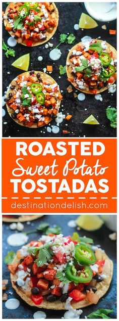 Roasted Sweet Potato Tostadas - Fresh and healthy vegetarian tostadas piled high with roasted sweet potatoes, black beans, and sautéed peppers and onions