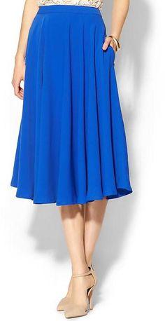 Pim + Larkin Basic Midi Skirt #blue