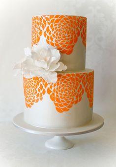 Orange Floral Print Cake