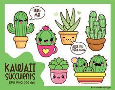 50% OFF SALE, Kawaii cactus, kawaii clipart, kawaii cacti, kawaii succulent, kawaii aloe, cactus clipart, cute cactus, commercial use