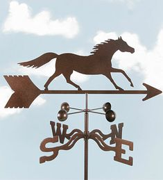 """Running Horse Weathervane...A racehorse's best friend is his goat, a companion animal that travels with the high-strung horse as he goes from race to race. The goat has a calming effect on the horse, bringing familiarity and comfort on long trips. Prior to big races, cheating competitors sometimes steal the goat to unnerve and upset the favored horse. The term """"get your goat"""" (to agitate and irritate someone) originated from this offensive act."""