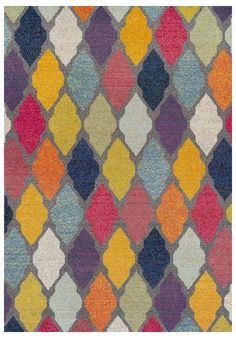 MISS AMARA RUGS | Luxor is a modern floor rug featuring a traditional lattice pattern modernised through a rainbow of bright colours. The grey lattice border coloured in with pinks, blues, yellows and oranges is mesmerising and gives the impression of a light-filled stain glass window. Made in Egypt, the rug is cross-woven, with an 11mm polypropylene frisee pile making it soft under foot while remaining durable and easy to clean. AUD 325.00