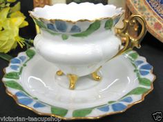Ohme Silesia Teacup 3 Footed Demi Tea Cup and Saucer Duo