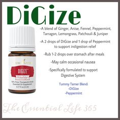 Uses for DiGize Essential Oil  #tummytamer #tummyache #stomach #digestion #naturaldigestionrelief #constipation #indigestion #youngliving