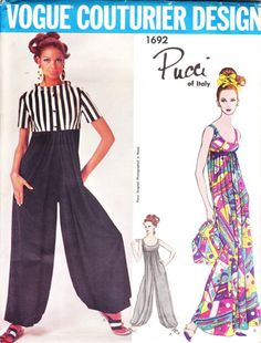 Vintage Pucci for Vogue Couturier - 1960s  harem pants pattern - Vogue 1692