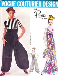 Vintage Pucci for Vogue Couturier - 1960s  harem pants pattern - Vogue 1692