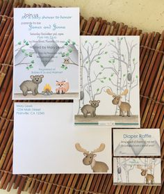 Customized baby shower Invitations set for the couple who loves camping and the great outdoors. envelopes and inserts included! Woodland - pinned by pin4etsy.com