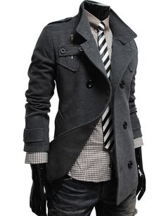 (MAK-DARKGRAY) Mens Luxury Double Breasted High Neck Wool Coat DARK GRAY
