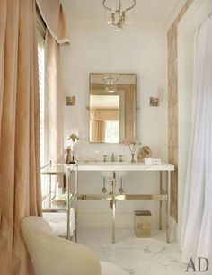 beautiful bathroom, étagère and mirror by Restoration Hardware // AD 4.2012, photography by Pieter Estersohn