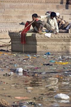 Pollution in the Holy River Ganges - India. Indian boys playing on the Hindu Gha , #ad, #Ganges, #India, #Indian, #Pollution, #Holy #ad Water Pollution Facts, Plastic Pollution, Image Photography, Editorial Photography, Pollution Pictures, Save Our Earth, Water Pictures, Power To The People, Varanasi