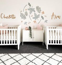 norsuHome styling - twin nursery room for two little girls Twin Baby Rooms, Twin Girl Bedrooms, Twin Baby Girls, Baby Bedroom, Girls Bedroom, Twin Girl Nurseries, Twin Room, Baby Twins, Girls Room Design