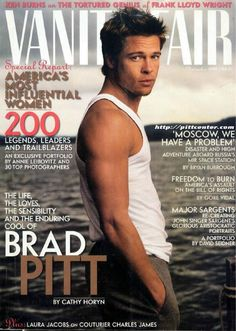 Brad Pitt. Vanity Fair Nov.1998 ONE of my favorite covers... the story behind this shot is a storm came in, hence the cool lighting, and Brad put himself in harms way to rescue a couple of people caught in the storm following the photo-shoot... He