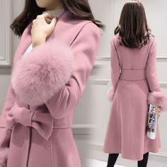 2015 winter womens wool Coat trench with real fox fur Slim coats for women Woolen coat outerwear coats mid-Long Dropship