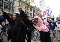 Students in the United States march against president-elect Donald Trump. Were...