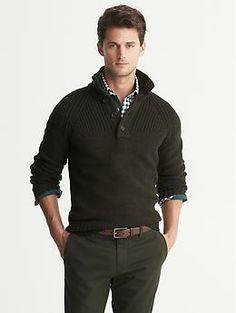 Textured Button-Neck Pullover | Banana Republic