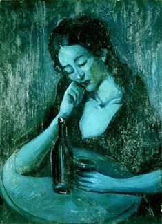 Pablo Picasso | 1881 - 1973 | Lady at Eden Concert, 1903 | Oil on canvas. 80 x 59 cm | Blue period. Inspired in Fernande Olivier.