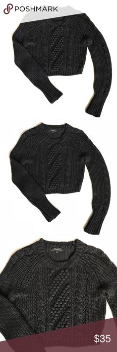 Express Black Cropped Cable Knit Sweater, Sz S Chunky wool acrylic blend cable knit sweater. Cropped fit with long sleeves and crew neck. Excellent condition. Express Sweaters Crew & Scoop Necks