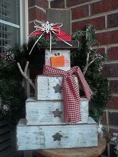 Wooden Block snowman