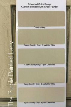 Country Grey is putty color-The Purple Painted Lady-Good for a base beneath Pure White and on dark surfaces.