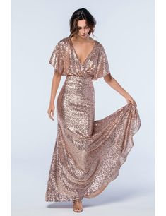 V-Neck Bridesmaid Dress, Sequin Bridesmaid Dress, Backless Bridesmaid Dress, Mermaid Bridesmaid Dres Backless Bridesmaid Dress, Bridesmaid Dresses With Sleeves, Mermaid Bridesmaid Dresses, Beautiful Bridesmaid Dresses, Rose Gold Dresses, Rose Gold Wedding Dress, Rose Gold Sequin Dress, Rose Gold Gown, Wedding Dresses