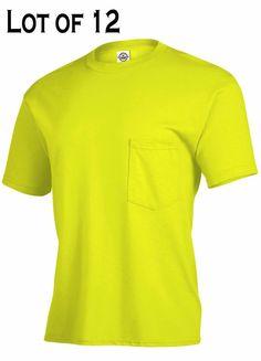 Details about gildan safety yellow green t shirt lot 12 s for Bulk pocket t shirts