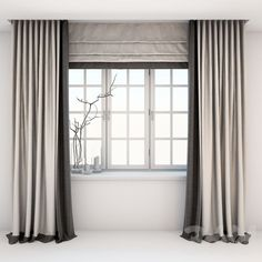 models: Curtain - Direct two-color curtains in the floor and Roman curtains in a modern style with a window Contemporary Curtains, Modern Curtains, Colorful Curtains, Hall Curtains, Curtains With Blinds, Roman Blinds, Living Room Modern, Living Room Designs, Curtain Designs